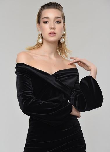 People By Fabrika Carmen Yaka Kadife Elbise Siyah